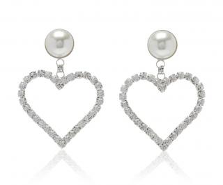 Alessandra Rich Large Crystal Pearl Heart Clip Earrings