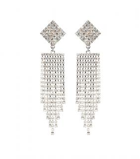 Alessandra Rich Large Crystal Waterfall Clip Earrings