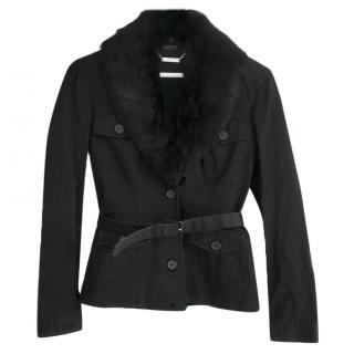 Alexander McQueen Black Fur Trim Safari Jacket