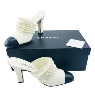 Chanel Leather Cap Toe Pearl Mules