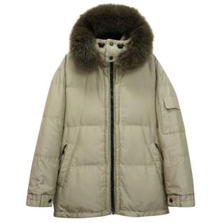 Bogner Weather System Hooded Down Fur-Trimmed Beige Parka