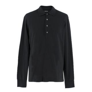 Tom Ford black long-sleeved cotton-jersey polo shirt