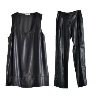 Brunello Cucinelli metallic silk trousers & top set