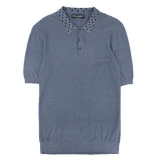 Dolce & Gabbana short-sleeved silk-knit polo shirt
