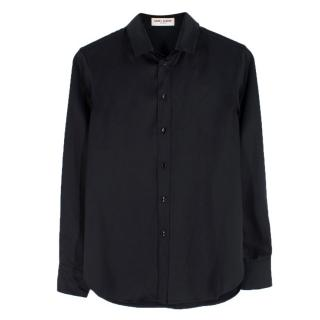 Saint Laurent black silk-satin shirt