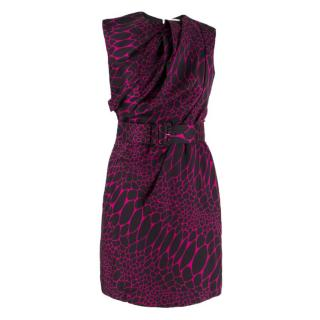 Philip Armstrong abstract-jacquard belted dress