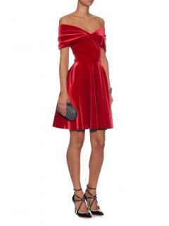 Emilio De La Morena Red Velvet Off Shoulder Full Skirt Dress