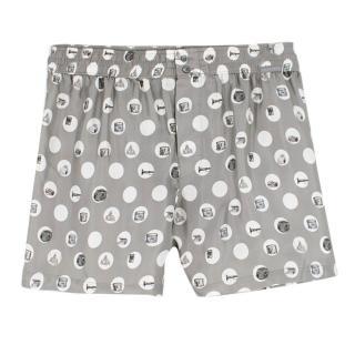 Dolce & Gabbana Silver Printed Silk-Twill Boxer Shorts