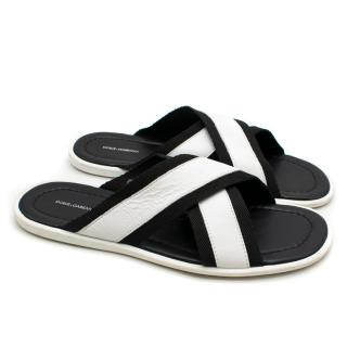 Dolce & Gabanna Leather & Webb Cross-Strap Slides
