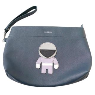 Max&Co Acacia Astronaut Applique Navy Faux Leather Clutch Bag