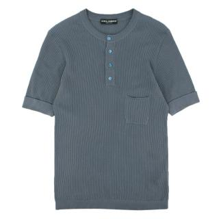 Dolce & Gabanna Blue Ribbed Cotton Knit Sleevless Shirt