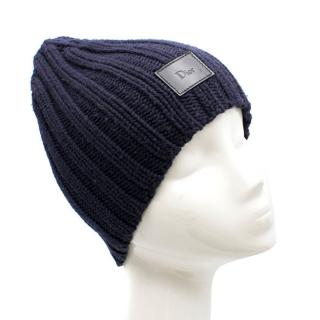 Dior Ribbed-Knitted Navy Hat