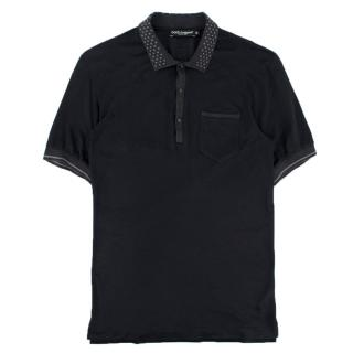 Dolce & Gabanna Navy Cotton-Blend Polo-Shirt