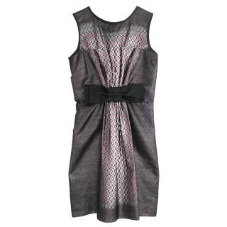 Prada Metallic Ombre Brocade Oversized Bow Front Dress