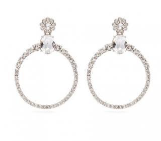 Miu Miu Crystal-embellished hoop clip-on earrings