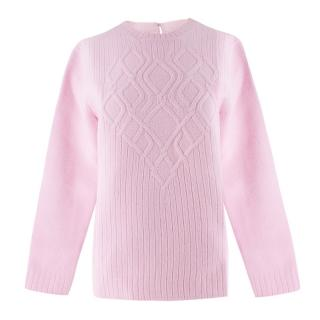 No.21 pink bonded-wool cable knit sweater