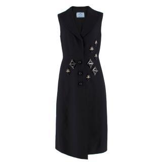 Prada embellished black wool and silk-blend dress