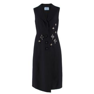 Prada embellished black wool and silk-blend dress
