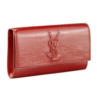 YSL Red Patent Belle Du Jour Clutch