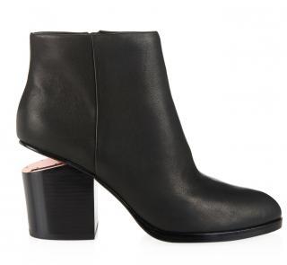 Alexander Wang Gabi Black Suede + Rhodium Cutaway Heel Boots
