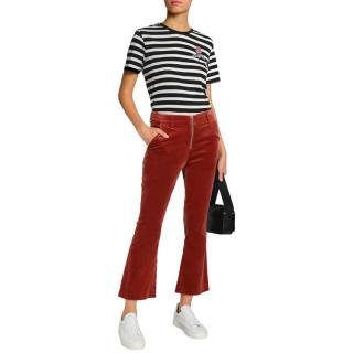 Frame Spice cropped kick-flare velvet trousers