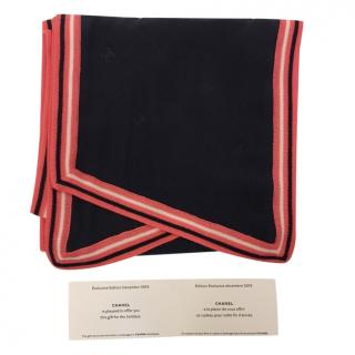 Chanel Navy Silk Scarf