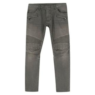 Balmain Grey Straight-Fit Distressed Denim Biker Jeans