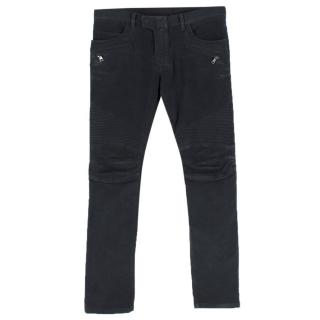 Balmain Black Straight-Fit Brushed-Cotton Denim Biker Jeans