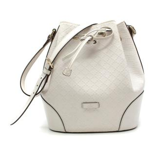 Gucci White Medium Leather Bucket Bag