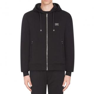 Dolce & Gabbana Black Zip-Up Cotton Jersey Hoodie - Current Season
