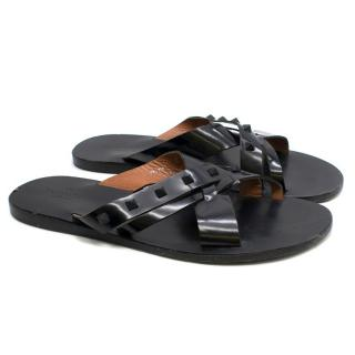 Valentino Black Rockstud Cross-Strap Slides