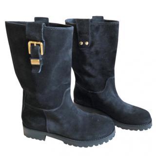 DOLCE & GABBANA black suede biker boots