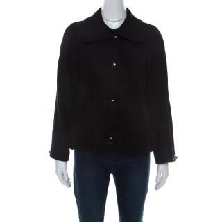 Giorgio Armani Women Black Wool Twill Button Front Blazer S