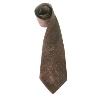 Liberty Brown Geometric Motif Silk Neck Tie