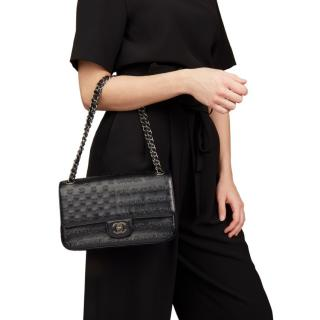 Chanel Black Embossed Calfskin Leather Classic Single Flap Bag