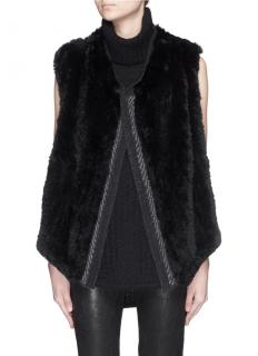 Vince Rabbit Fur Open Gilet
