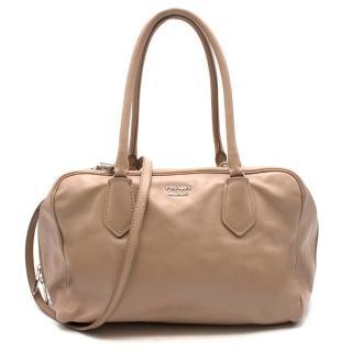 Prada beige leather bowling tote bag