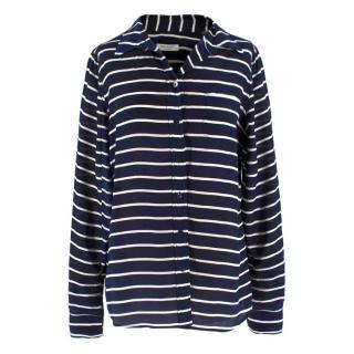 Equipment navy striped silk crepe de Chine shirt