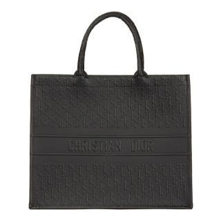 Christian Dior Black Oblique Embossed Calfskin Leather Book Tote