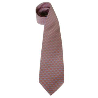 Chopard Melon Pink Fish Motif Silk Neck Tie