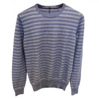 Loro Piana Blue Striped Silk & Cashmere Sweater