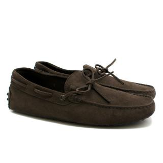 Tods Brown Suede Loafers