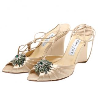 Jimmy Choo Satin Embellished Lace-up Sandals