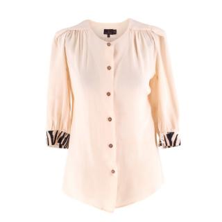 Mulberry pink collarless chiffon shirt