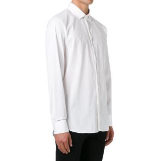Neil Barrett zip-detail white cotton-poplin shirt
