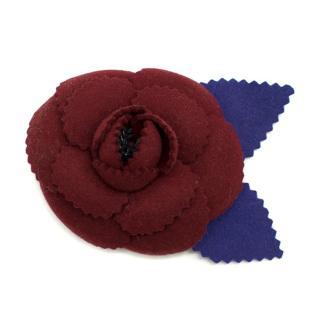 Chanel Burgundy Camellia Brooch