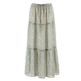 Gerard Darel White Floral Maxi Skirt