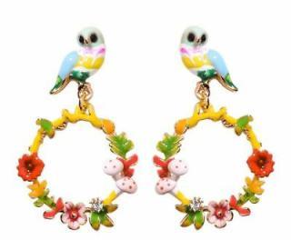 Les Nerides Bird & Flower Hoop Drop Earrings