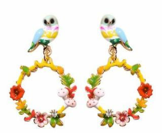 Les Nerides Bird & Flower Hoop Drop Earrings