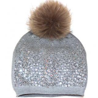 Bespoke Crystal Embellished Fur Pom Pom hat